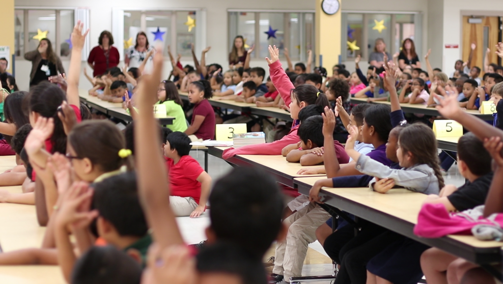 Students hands raised during quiz2